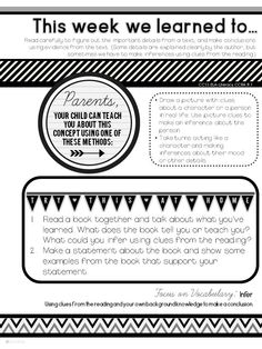 Home Learning Notes: Attach these to your classroom newsletter to help parents reinforce learning at home. (CCSS aligned) $