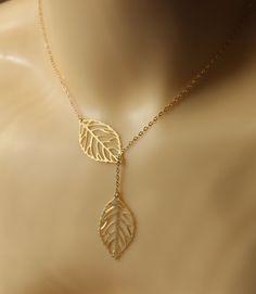 leaf necklace , gold leaf necklace , leave necklace. $16.00, via Etsy.