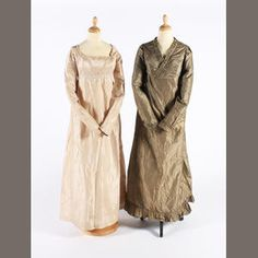 Bonhams auction. The 1810s olive silk dress with a cross-over bodice trimmed…