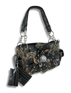 fed7ae884c Amazon.com  Mossy Oak Camo Concealed Carry Purse with Flower and Mock Crock  Trim