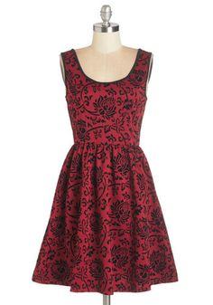 Jingle Bell Frock. Mix and mingle in this cranberry-red dress for one haute holiday party look! #gold #prom #modcloth