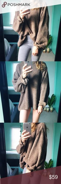 Australia Cremé 🍂 Gray, white, cream and mixtures of two shades of brown make a delight of a figure piece. The fabric is smooth and very cozy, cottony feeling and very fresh when cool and warm when cold depending on any weather change. NO UO. Urban Outfitters Sweaters Crew & Scoop Necks