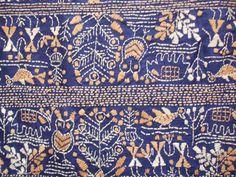 インド ブータン アジアの布 染織美術館 インド サリー(3) ベンガル カンタ刺繍シルクサリー