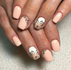 Nude and white manicure with Butterfly accent nail and bling