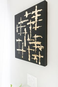 Make Abstract Black and Gold Leaf Canvas Art