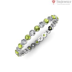 Eternity Band is also known as Infinity Band… Surprise her with a classic Diamond Eternity Band, The ring for every occasion.  #Eterntyband   #Weddingring   #Peridot   #love   #Trijewels