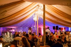Ornately decorated traditional marquee interior at a winter wedding