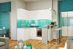 Картинки по запросу бежевая кухня бирюзовый гарнитур