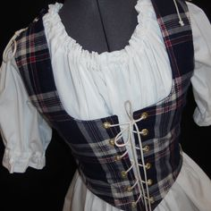 Renaissance Costume - Reversible Bodice, Plaid And Navy Blue - Irish Lass Corset, Pirate, Medieval bodice - Wench Garb - SZ Medium by MidnightsMeadow on Etsy