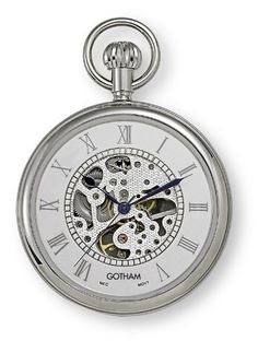 Gotham Men`s Silver-Tone 17 Jewel Mechanical Open Face Pocket Watch # Watch Tattoos, Time Tattoos, Lion Tattoo Sleeves, Tribal Armband, Clock Tattoo Design, Tattoo Designs, Clock Art, Clocks, Mechanical Pocket Watch