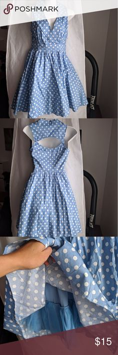 BaileyBlue Light Blue Polka Dots Dress Never worn Excellent condition No stains and No damages bailey blue Dresses Asymmetrical