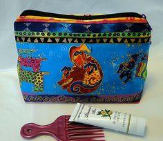 Cosmetic Bag, Pencil Bag, Laurel Burch, Blue Bag, Zipped Bag, Make Up Bag…