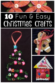 10 fun and easy Chrismas Crafts for Kids.  Really cute and simple Christmas tree ornaments for preschoolers and toddlers to make at home or in the classroom - Happy Hooligans