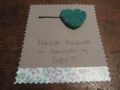 #Hairslides #Handmade in #Harrogate by Poppy. This lovely turquoise felt heart is very sweet. My range of handmade hairslides are available at Hush Jewellery shop in the Victoria Shopping Centre in Harrogate, North Yorkshire. Come in and see us, we have a fantastic range of jewellery, scarves and accesories. Or have a look at the shop on their Twitter, @HushJewellery, and my hairslides on Twitter @Poppys_Buttons. Thank you!