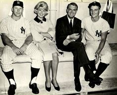 Mickey Mantle, Doris Day, Cary Grant, and Roger Maris at Yankee Stadium while filming That Touch of Mink (1962).