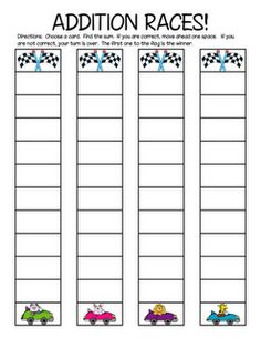 Printable: 1st grade math (addition races!)