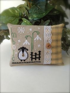 Completed Primitive Cross stitch Awakening Pincushion / Ornament / Gift