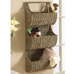 Seagrass 3 Tier Wall Basket Brown