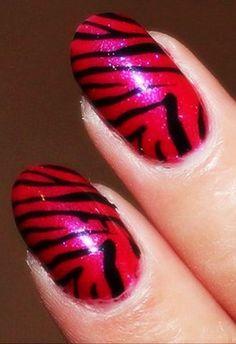 Zebra Print Nails Design, Red zebra-stripe nails for girls  #zebra #nails #christmas www.loveitsomuch.com Toe Designs, New Nail Designs, Beauty Stuff, Hair Beauty, Zebra Print Nails, Dream Nails, Ice Skating, Crowns, Fun Nails