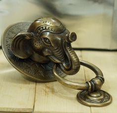 Antique Large BIG ELEPHANT Thai Head Door Knocker by ArtsofBrass, $69.99