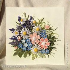 Картина панно рисунок Квиллинг С ромашками Бумажные полосы фото 5