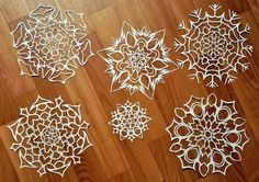 Paper Snowflakes anyone? Never too early for Christmas! This craft idea was a blast with the kids. Paper Snowflake Designs, Paper Snowflakes, Snowflake Ornaments, Christmas Ornaments, Christmas Projects, Christmas Fun, Holiday Fun, Winter Holiday, Handmade Christmas Decorations