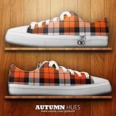 "AUTUMN HUES... ""Great plaid pattern in a palette of pumpkin oranges and black, perfect for this season""... #tartan, #plaid, #tartanpattern, #plaidpattern, #fall, #autumn, #stylish, #bright, #cool, #modern, #footwear, #footgear, #casual, #urban, #young, #fashion, #fashionable #shoes #lowtops #sneakers #zipzshoes #zipz #zazzle #zazzler #zazzleshop #digitalarcreations"