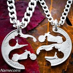 Give the perfect gift for biker couples or friends! This custom Harley inspired necklace jewelry set will be hand cut from the coin of your choice. They interlock perfectly together just like puzzle pieces. You get two high quality and sturdy stainless steel chains, one for each pendant. We Custom Choppers, Custom Harleys, Custom Bikes, Custom Motorcycles, Harley Davidson Jewelry, Harley Davidson Merchandise, Biker Couple, Custom Coins, Couple Necklaces