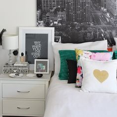 bedroom styling - NYC print, green, gold heart and standout print
