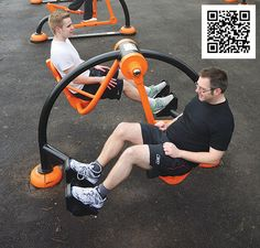 Outdoor gym equipment complete with QR codes linked to your own virtual personal trainer