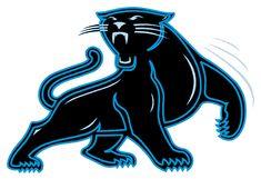 Carolina Panthers Alternate Logo (1995) - A black panther outlined in light blue looking back