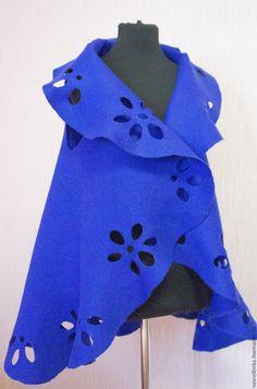 """Купить Жилет-трансформер """"Незнакомка в синем"""" - синий, однотонный, жилет, пелерина, Трансформер, подарок"""
