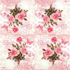 4x Single Luxury Paper Napkins for Decoupage, Craft Vintage Red Rose Postcard | eBay