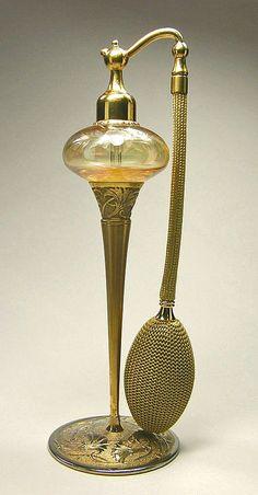 DeVilbiss 1928 Art Nouveau Metal Stem Perfume Atomizer