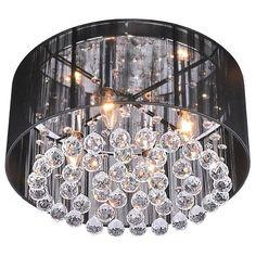 Elegant 4 Light Crystal Chandelier Black Drum Flush Mount Lamp Ceiling Lighting #Modern