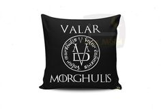Features :   Decorative Accents: White Valar Morghulis Textile Material: Cotton & Polyester ( 100 %) Fill Material: Silicon ( 100 %) Dimensions: