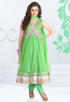 Lime Green embroidered party anarkali kameez intricate with zari thread, resham thread, neck work