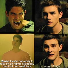 """Maybe they're not ready to take on an Alpha. Especially one that can smell fear."" ""He's got fangs!"" 5x12 ""Damnatio Memoriae"""""