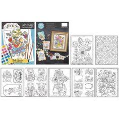 AdornIt ArtPlay Coloring Book, Folk Garden, Multicolor