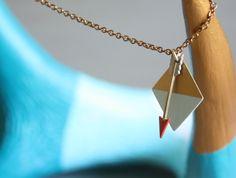Brass Geometric Diamond and Arrow Necklace