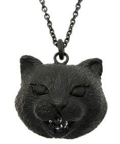 bortsprungt.(ボシュプルメット)のネコネコの顔ネックレス(ネックレス)|ブラック