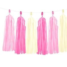 Pink and White Tassel Garland - This pretty pink tassel garland will really give your girly party wow factor. Perfect for baby showers, hen parties, or birthdays. Use it across the front of a buffet table, hang on the wall or use it as a balloon tassel. Bride To Be Decorations, Pink Party Decorations, Pastell Party, Rainbow Birthday Decorations, Ciel Pastel, Tissue Garland, Diy Girlande, Birthday Accessories, Balloon Tassel