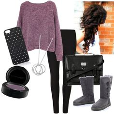 Cozy Winter Purple and Black Outfit