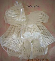 Cheri's Crochet Baby Dress, Diaper Cover and Booties by craftsy.com