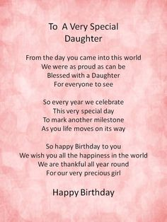Happy birthday wishes for your daughter:.Sweet Birthday Poems for Daughter Birthday Poems For Daughter, Mom Quotes From Daughter, Mother Daughter Quotes, I Love My Daughter, Happy Birthday Wishes, 21st Birthday, Mother Poems, Poems For Daughters, Beautiful Daughter Quotes