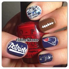 New England Patriots by elaineqxoxo  #nail #nails #nailart  wish I could do something like this