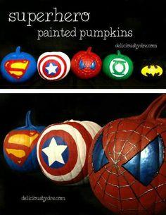 Superhero pumpkins for Halloween: Superman, Captain America, SpiderMan, Batman Holidays Halloween, Halloween Crafts, Happy Halloween, Halloween Decorations, Pumpkin Decorations, Halloween 2014, Fall Crafts, Holiday Crafts, Holiday Fun