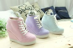 Pastel Candy Wedges Sneakers [1123-8] | TopTownShop.com
