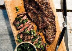Grilled Skirt Steak with Herb Salsa Verde: The secret to this flavorful sauce, which is delicious with almost all grilled meat and fish, is to use any herb that looks good at the market. Just be sure to include parsley: It gives the salsa backbone Good Steak Recipes, Meat Recipes, Cooking Recipes, Grill Recipes, Barbecue Recipes, Paleo Recipes, Think Food, I Love Food, Gourmet
