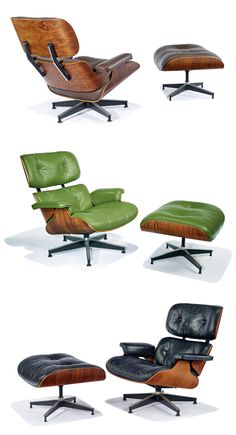 Thinking about St. Patrick's Day with this vintage green leather Eames 670 lounge chair and a pair of classic black leather ones.